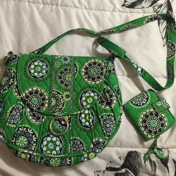 Vera Bradley purse & wallet Retired VB print: Cupcake Green. Hardly used hipster bag and wallet. In excellent condition.  No signs of wear. Very clean. Adjustable strap length. Magnetic closure. Awesome bag. Vera Bradley Bags Crossbody Bags