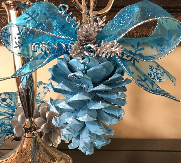 Blue pinecone ornament, Christmas ornaments, pinecone ornaments , handmade ornaments, blue ornaments, holiday ornaments, pinecone crafts by BeLightbyMoe on Etsy https://www.etsy.com/listing/488800579/blue-pinecone-ornament-christmas