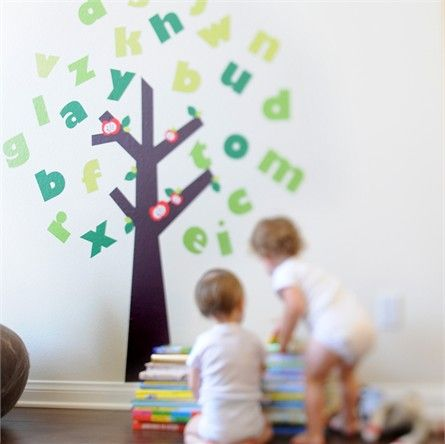 Learning the ABCs has never been so fun!  The Tree of Knowledge Fabric Wall Decals set features a full alphabet of green letters that you can use as the leaves for this whimsical tree
