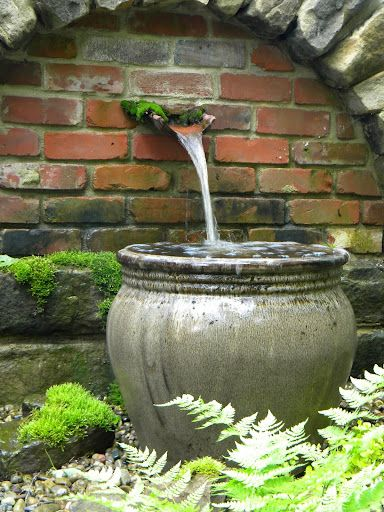 Favourite Water Feature - shade garden water feature. Perfect for adding some interest to a shady spot and so beautifully complemented by the moisture loving ferns and moss!                                                                                                                                                     More