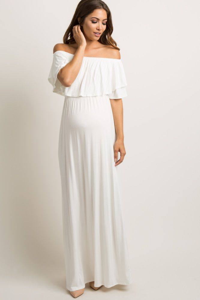 235b35a82b1d1 Ivory Off Shoulder Ruffle Trim Maternity Maxi Dress | Client ...