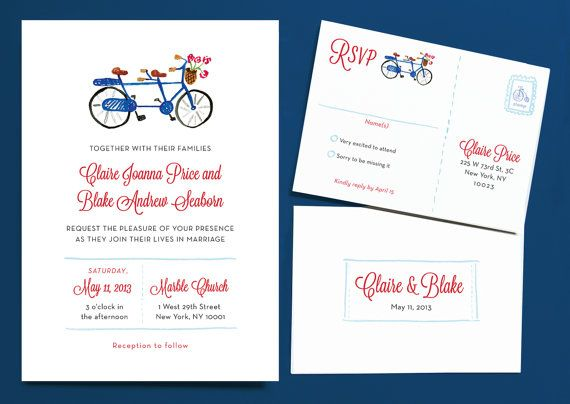 Bicycle Built for Two Wedding Invitation Suite by Leveret Paperie