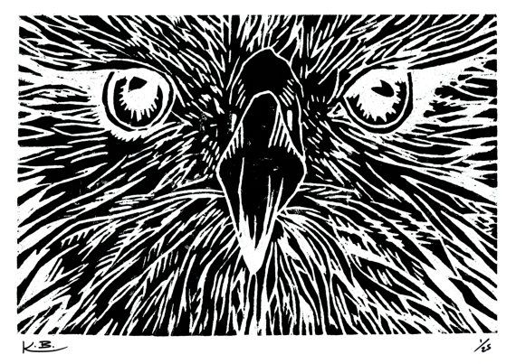 Eagle Woodcut Print by Kelly Blake. Limied Edition of 25, Signed by Artist.