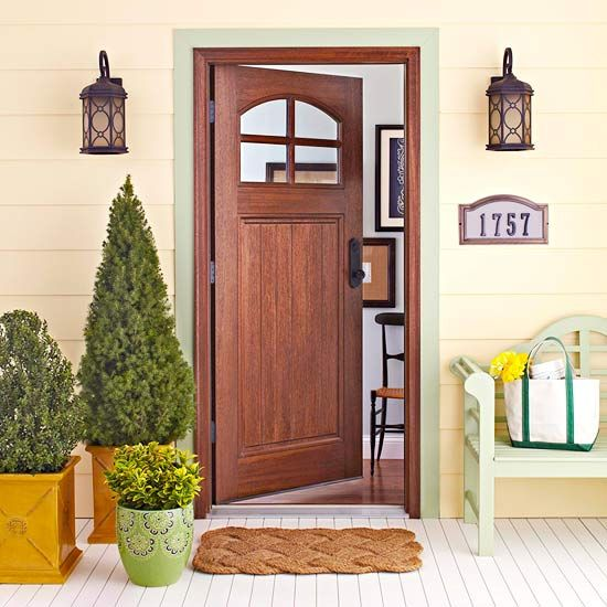 A few charming exterior touches can transform your home's facade! More front entry ideas: http://www.bhg.com/home-improvement/exteriors/curb-appeal/refresh-your-front-entry/?socsrc=bhgpin060513classiccharm=1