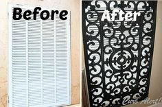 Curb Alert! - Totally Awesome Makeover Ideas: Repurposed Door Mat to Cover an Ugly Return Air Vent