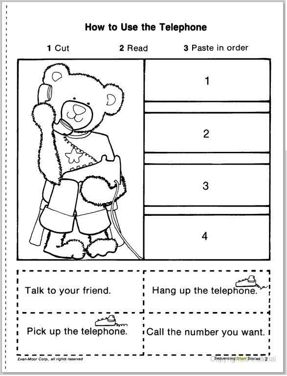 kindergarten sequencing cut and paste worksheets | {learningenglish-esl.blogspot.com}