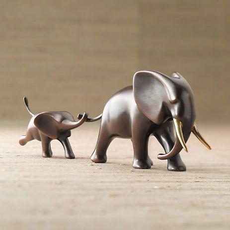 Loet Vanderveen Bronze Elephant & Baby | Gump's