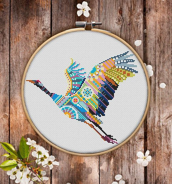 This is modern cross-stitch pattern of Mandala Crane for instant download. You will get 7-pages PDF file, which includes: - main picture for your reference; - colorful scheme for cross-stitch; - list of DMC thread colors (instruction and key section); - list of calculated thread