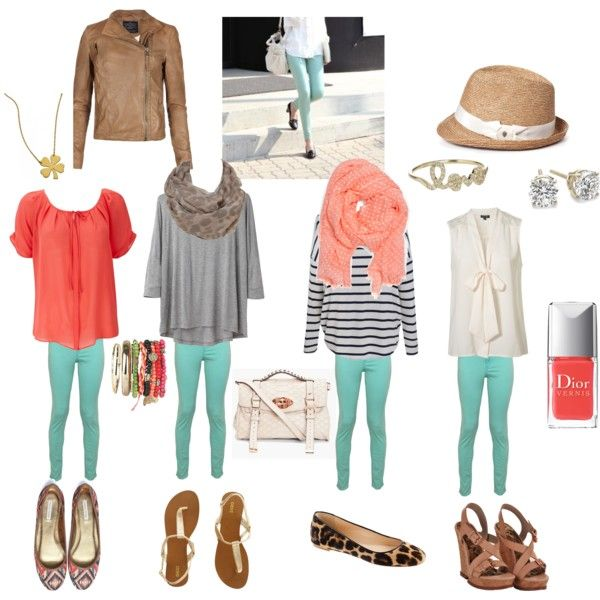 Everyday outfits for mint green jeggings!