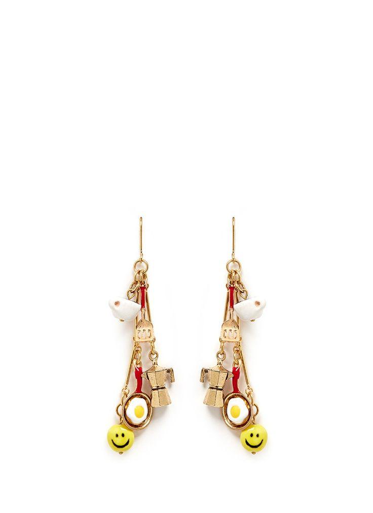 VENESSA ARIZAGA - 'Breakfast in Bed' drop earrings | Metallic Earrings Fashion Jewellery | Womenswear | Lane Crawford