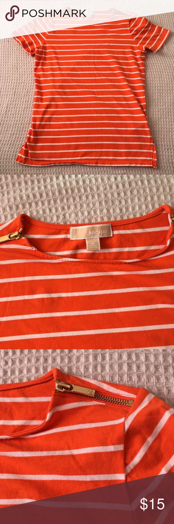 Michael Kors striped t-shirt with shoulder zips M Excellent condition  Shows minimal wear  No tears or stains  From a pet and smoke free home MICHAEL Michael Kors Tops Tees - Short Sleeve