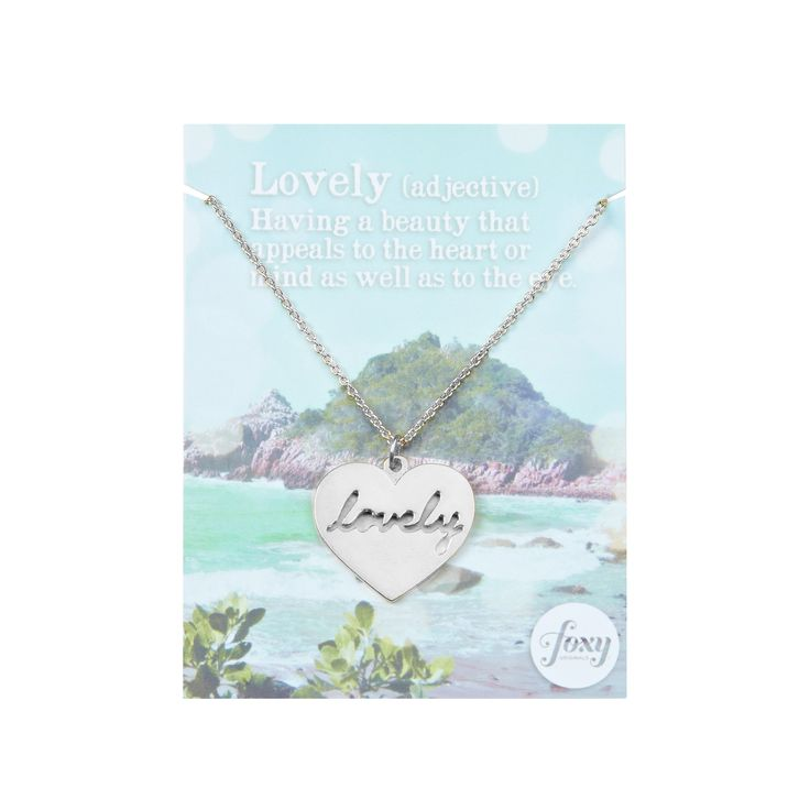 """Lovely Necklace - available in gold and silver. Get 25% off this necklace with code """"foxypin"""" http://www.foxyoriginals.com/Lovely-Necklace-in-Silver.html  Tags: silver necklace, heart jewelry, inspirational jewelry"""
