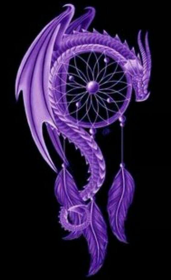 Un dessin de dragon violet menaçant avec des plumes luxuriantes   – Lila