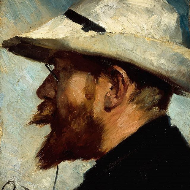 Swedish painter Oscar Björck was born #onthisday 1860. Björck first came to Skagen in 1882 and returned the two following summers not only for the scenery but - according to himself - equally because the warmth and hospitality of the other artists in the colony. This is the portrait he painted on Peder Severin Krøyer for the frieze in Brøndums dining room. #oscarbjörck #brøndumsspisesal