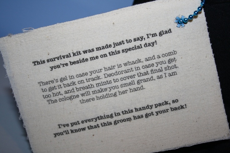 Groomsmen Survival Kit -- BAG ONLY. $15.00, via Etsy.