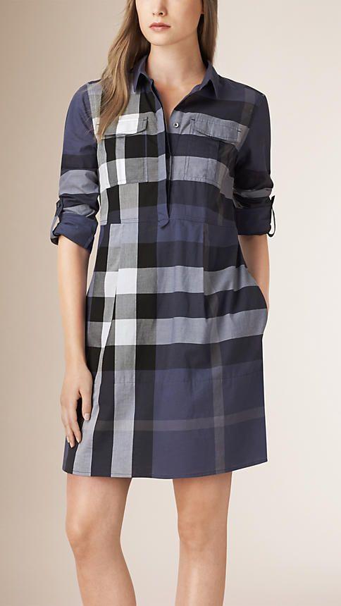 Azul acinzentado Vestido camisa de algodão com estampa xadrez - Imagem 1
