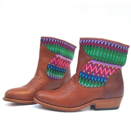 One of a kind leather and huipil boots.  Handmade life style from Camboria!