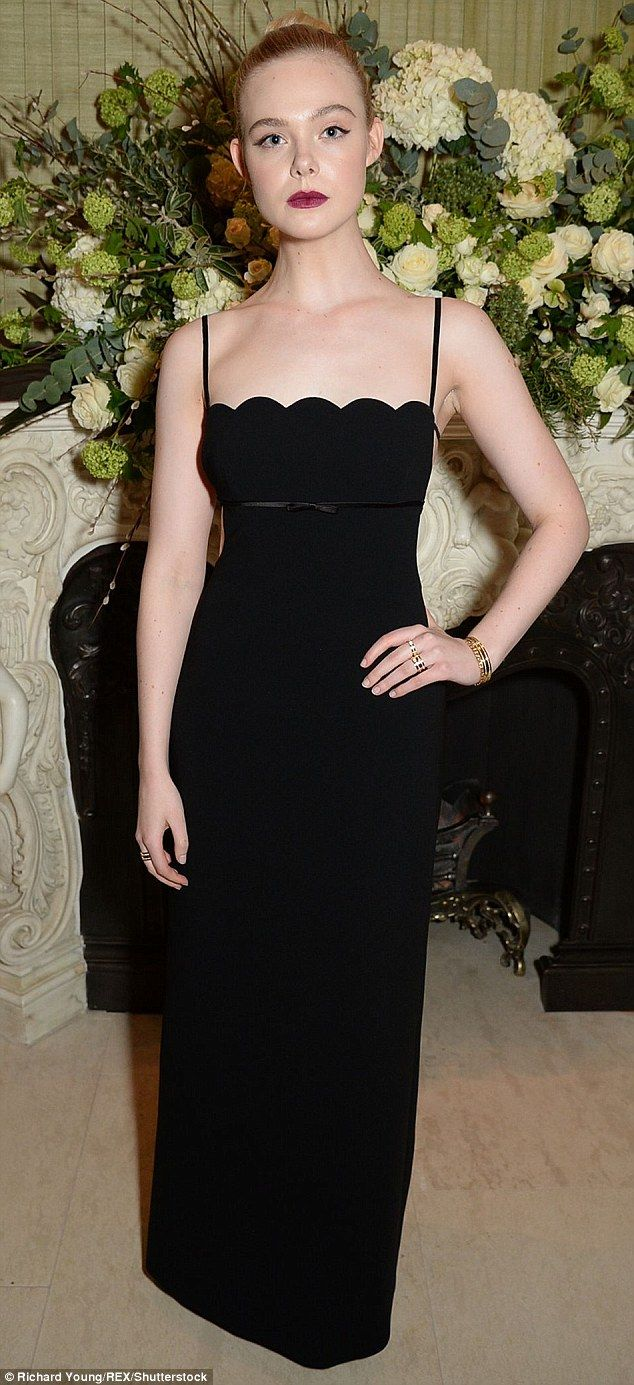 32bbf03bf230 Elle Fanning attended British Vogue s event on Sunday night in a slender  fitting