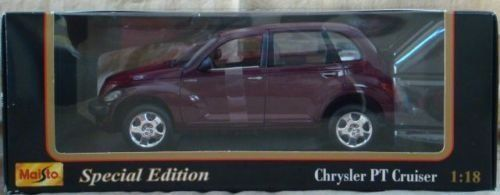 Special Edition Burgandy Chrysler PT Cruiser Car 1:18 by MAISTO. $17.45. 1 :18 Scale. Chrysler PT Cruiser. Maisto. Special Edition. Brand New Maisto Chrysler PT Cruiser Special Edition 1 :18 Scale