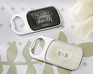 Personalized Bottle Opener with Epoxy Dome - Rustic Wedding - Practical Favors by Kate Aspen