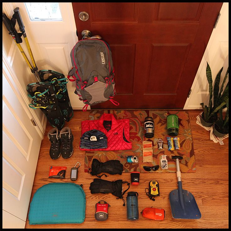 Ready to go: All the gear you need for a day of snowshoeing in the Cascades.