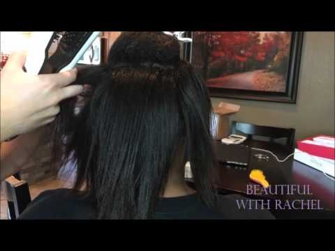 Watch how Steam Iron Comb straightens very curly hair!