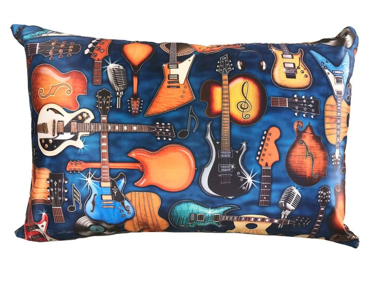 """Guitar Musician Pillow Case Dan Morris. Beautiful full color artwork on cool satin fabric pillow case featuring the original artwork of artist, Dan Morris. Coordinates with other products available through Dan Morris Design, including accent pillows, tapestries, decals and prints. 20""""x30"""" Fits both Standard and Queen size Pillows - not included 2 Sided Design -Design on both sides. Pillow Case with hidden zipper enclosure. Exclusive copyrighted designs by Dan Morris Hand Wash Cold Water."""