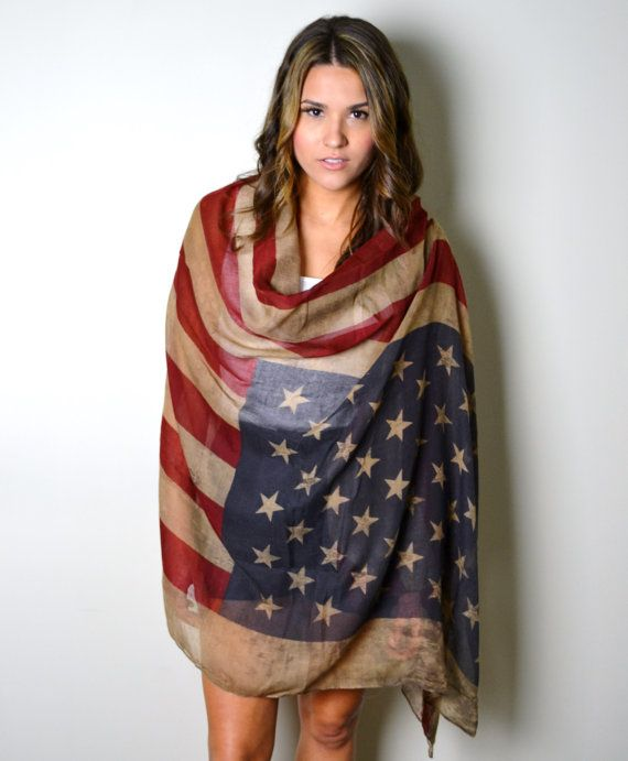 I may need this. I can loop it around and cover my fat tummy. lol. VINTAGE Team USA Boho American Flag Scarf Unisex by AnytimeScarf