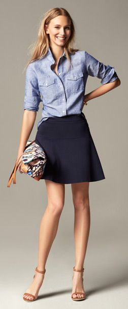 Short swing skirt, chambray shirt and ikat print tote with natural ankle strap heeled sandals