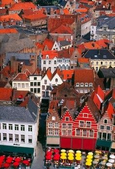 I love the steep, red roofs in Bruges Belgium