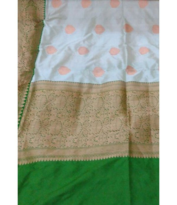Off White Handloom Banarasi Katan Silk Saree