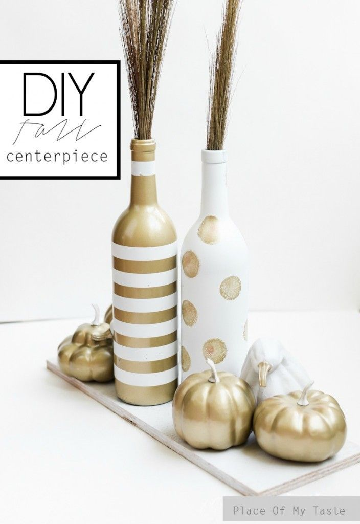 Chic white and gold wine bottle upcycle for the fall | This would make a fabulous centerpiece for Thanksgiving