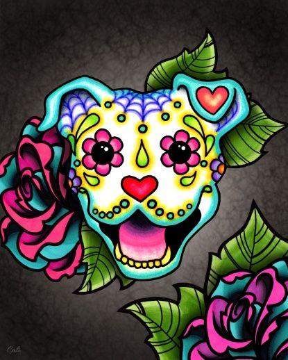 Day of the Dead Smiling Pit Bull Sugar Skull Dog Art Print