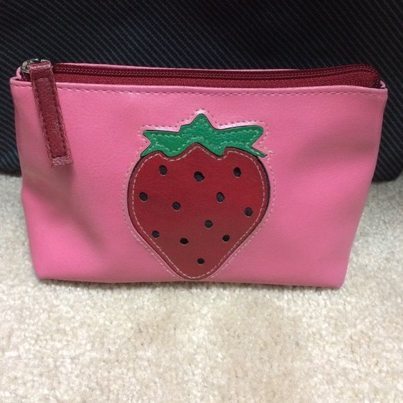 Fashion express Strawberry cosmetic pouch Fun strawberry bag perfect for cosmetics and accessories. Purchased at a Boston boutique. Fashion Express Bags Cosmetic Bags & Cases
