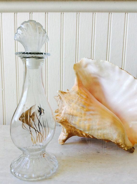 Vintage Avon Glass Decanter with Gold Angel Fish & She'll shaped Stopper, Coastal, Cottage, Beach, Tropical, Collectable, Vanity Decor