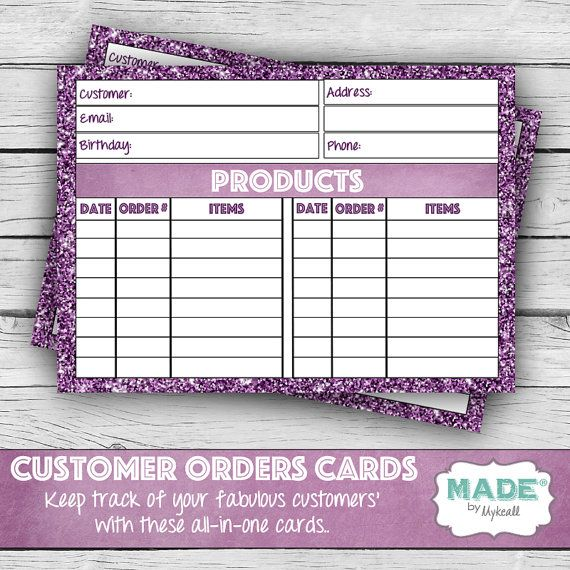 Digital CUSTOMER ORDERS CARDS Direct Sales by MADEbyMykeall