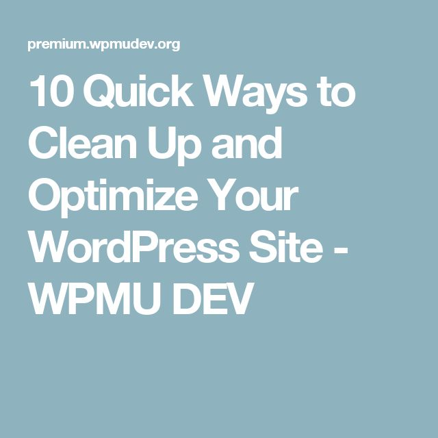 10 Quick Ways to Clean Up and Optimize Your WordPress Site - WPMU DEV