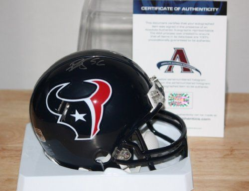 """BRIAN CUSHING HOUSTON TEXANS AUTOGRAPHED MINI HELMET by The Jersey Source Autographs. $65.00. This is a Riddell mini helmet which has been personally autographed by Brian Cushing of the Houston Texans. The item comes with a James Spence numbered Hologram and a matching JSA COA. You may visit their web page """"www.spenceloa.com"""" to verify when and where this item was signed in their presence. This is a stock photo but the item you will received with be virtually identical and i..."""