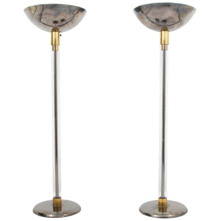 Pair of torchieres by karl springer usa circa 1970s modern floor lamps