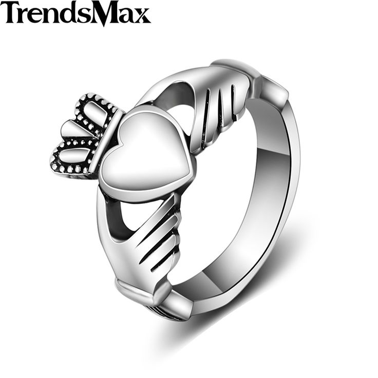 Trendsmax Love Ring Mens Womens Unisex Silver Color 316L Stainless Steel Wedding Band Ring Promise Friendship HR361