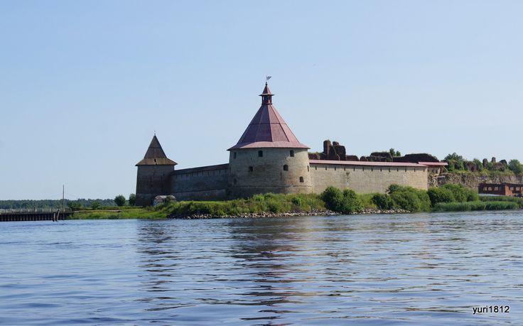 """Шлиссельбургская крепость """"Орешек"""". Общий вид с Невы"""