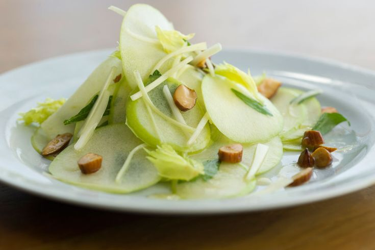 Shaved Fall Apple Salad ... The Marcona almonds used in this salad are Spanish almonds, which come roasted and lightly salted. They add a wonderful rich nutty flavor to this fresh, clean, crisp-tasting apple salad.