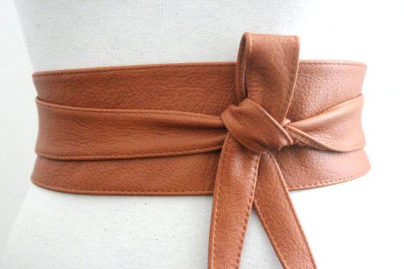 Dark Tan Leather Obi Belt  Waist or Hip Belt  by LoveYaaYaa