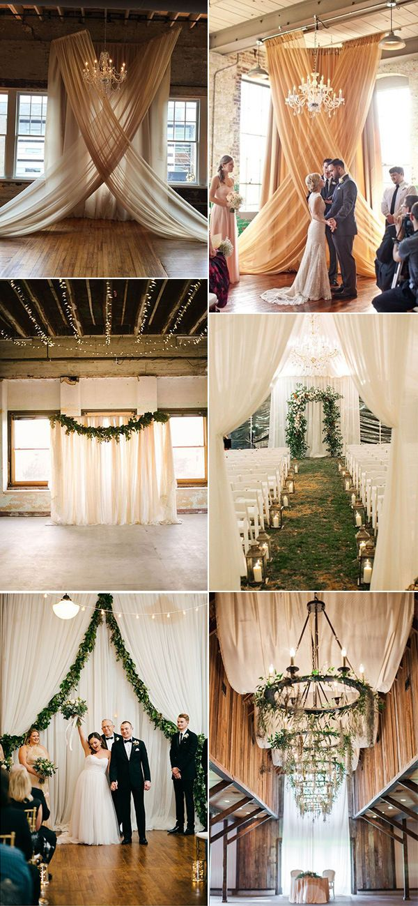 Trending 20 Gorgeous Wedding Ceremony Ideas With Draped Fabric For 2019 Oh Best Day Ever Wedding Drapery Wedding Draping Wedding Ceremony Decorations Indoor