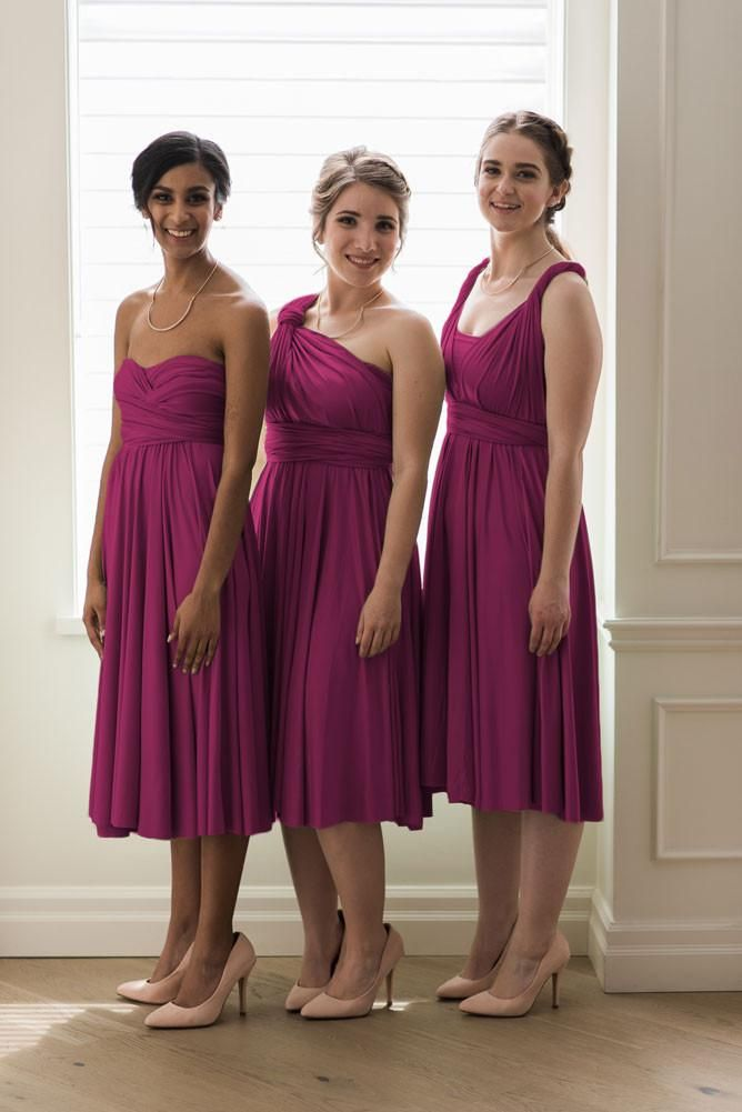 c134e045fe6c0 Magenta pink bridesmaid dress. This knee length infinity bridesmaid dress  is perfect for a summer wedding.
