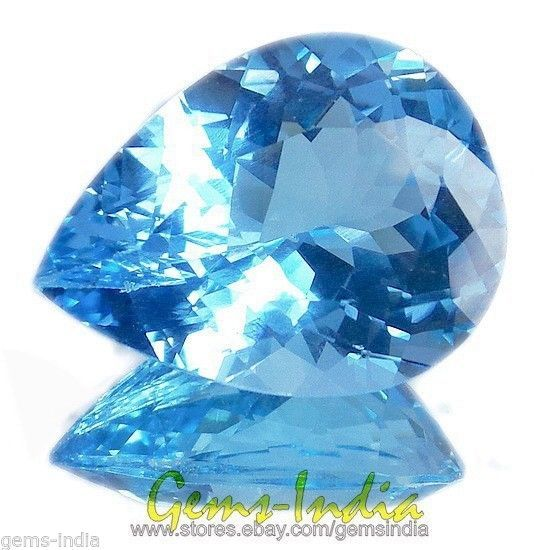 CERTIFIED~AAA FLASHING 29.10 CTS NATURAL SWIZZ BLUE TOPAZ PEAR GEMSTONE~