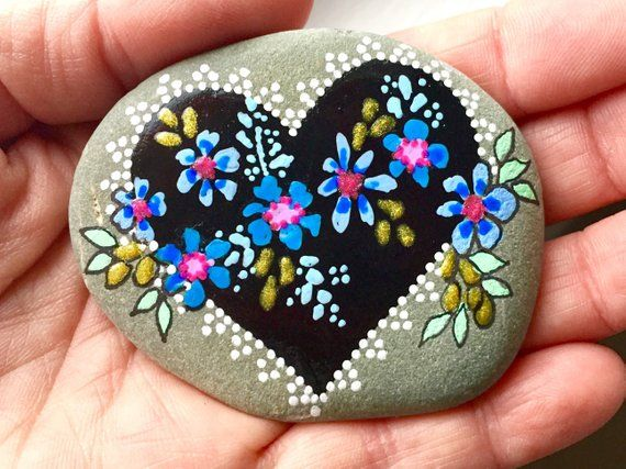 Tender Hearted Painted Stones Painted Rocks Heart Etsy Stone Painting Stone Art Rock Flowers