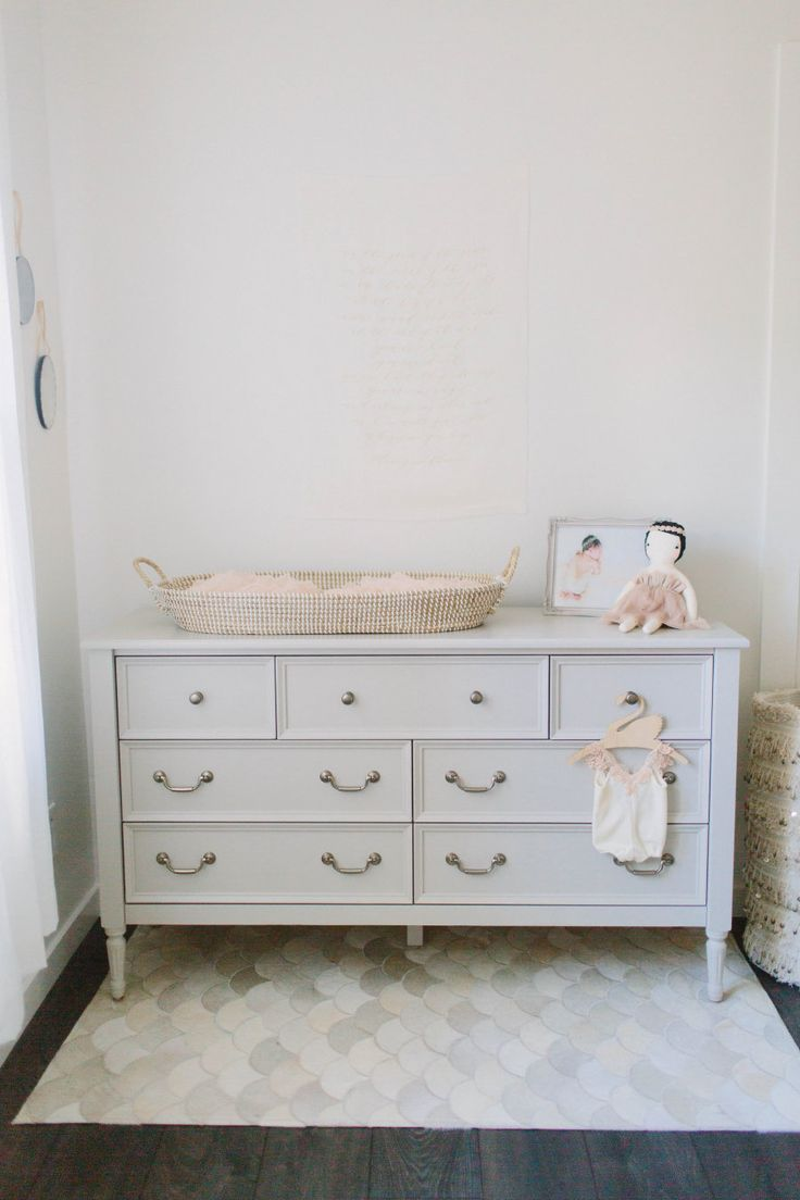 Nursery dresser + changing table | Photography : Meg Perotti Read More on SMP: http://www.stylemepretty.com/living/2016/07/08/this-is-quite-possibly-the-dreamiest-nursery-weve-ever-seen/