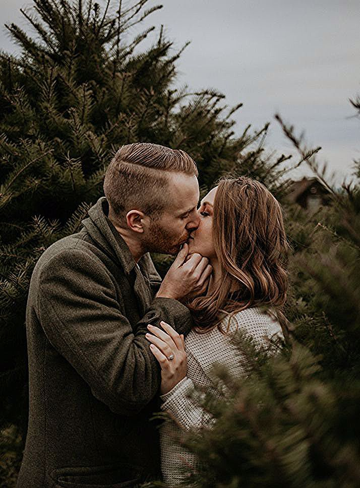 A Christmas Tree Farm Holiday Couples Session In Victoria Bc Evergrey Photography Wedding Elopement Photogr Christmas Tree Farm Farm Holidays Tree Farms
