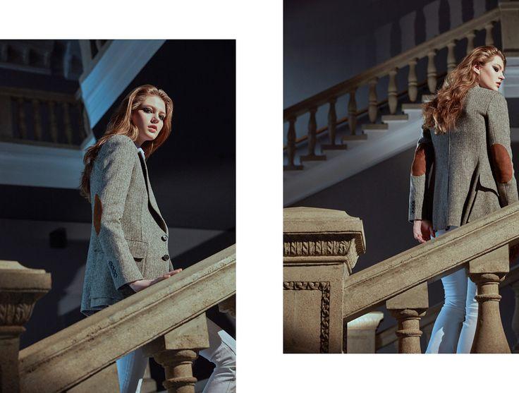 Жакет The Tweed Jacket из шерсти и нейлона, с заплатками из замши, хлопковые джинсы